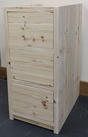 Pine Traditional Style 3 Drawer Kitchen Base Unit 400mm wide